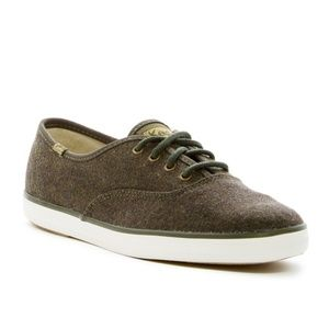 NEW Keds Wool Forest Green Champion Sneakers